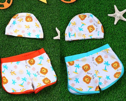 Lemonkid檸檬寶寶活力男孩分體式兒童泳帽平角游泳短褲KQ16013