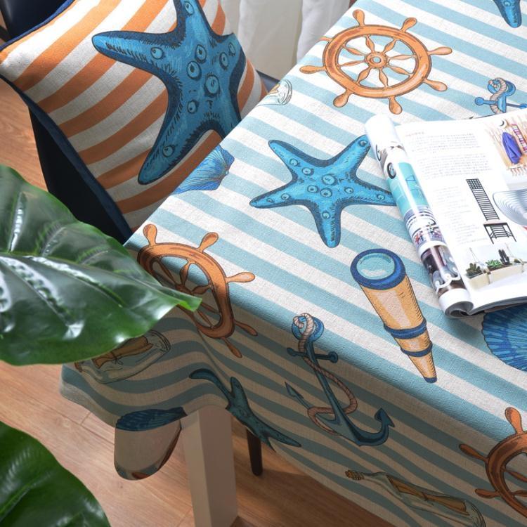 桌巾-松果屋 地中海海洋風格桌布餐墊厚實棉麻質感海馬海星餐桌蓋布可【非凡-全館免運】
