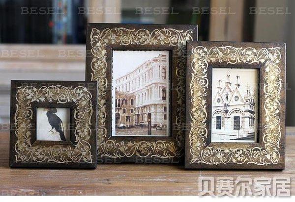 歐式實木相框 樣板房裝飾品