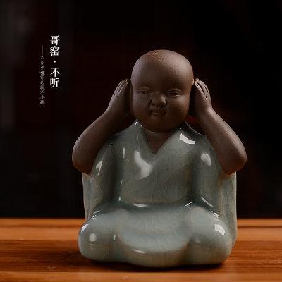 陶瓷哥窯茶寵開片四不小和尚圖一3
