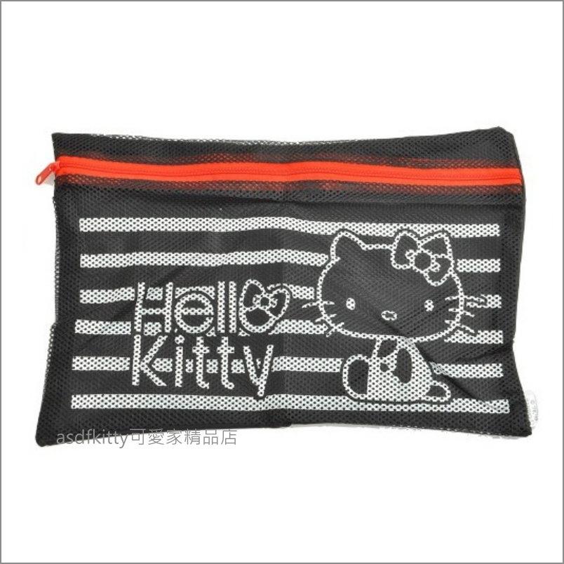 asdfkitty可愛家☆KITTY黑色網眼收納包/萬用包/旅行盥洗包/文具包-日本正版商品