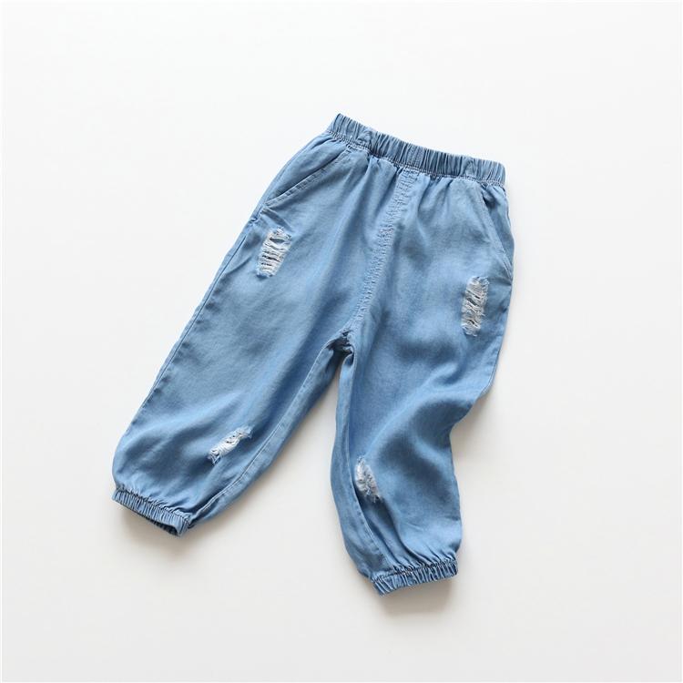 夏季童裝防蚊褲薄款兒童破洞棉質仿牛仔七分褲.縮腳褲.休閒褲~EMMA商城