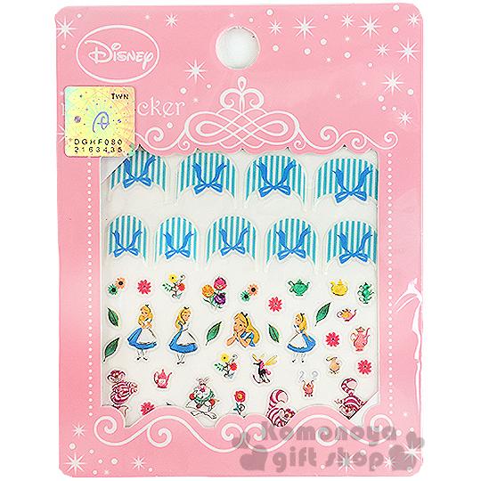 小禮堂迪士尼愛麗絲造型指甲貼花.妙妙貓.蝴蝶結.粉包裝8039032-60019