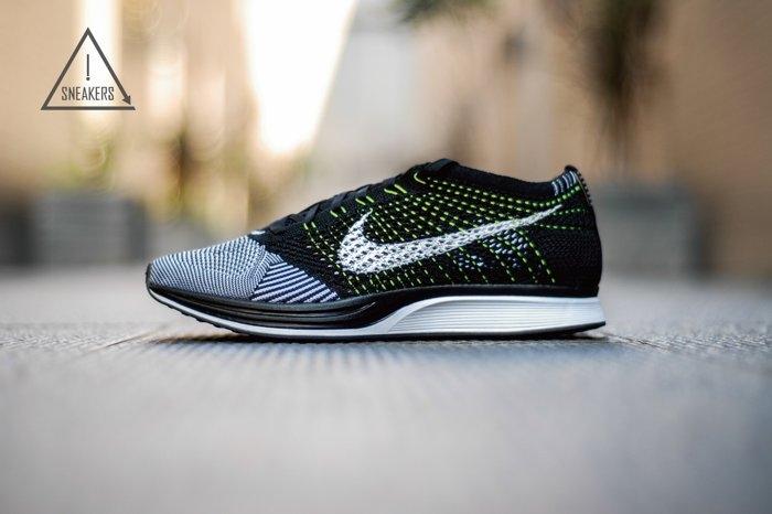 ISNEAKERS Nike Flyknit Racer黑白陰陽編織黃綠線男女鞋526628-011