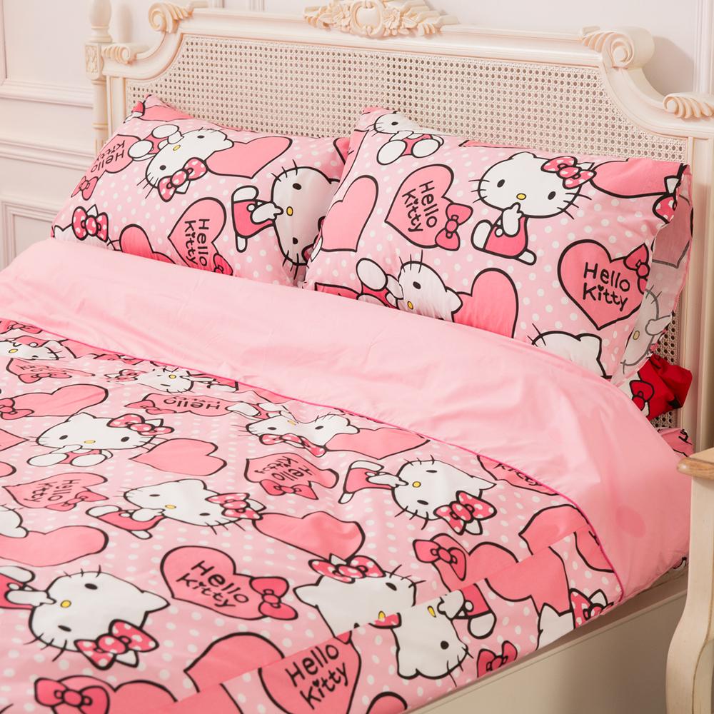 【Jenny Silk名床】Hello Kitty.粉紅佳人.特大雙人床包組兩用鋪棉被套全套.全程臺灣製造