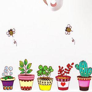 壁貼兒童房佈置設計花可愛盆栽客廳餐廳臥室教室裝潢佈置牆貼Life Beauty