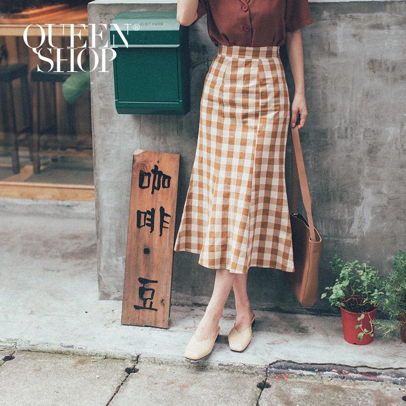 Queen Shop【03020558 】 格紋棉麻魚尾長裙 兩色售 S/M/L*現+預*
