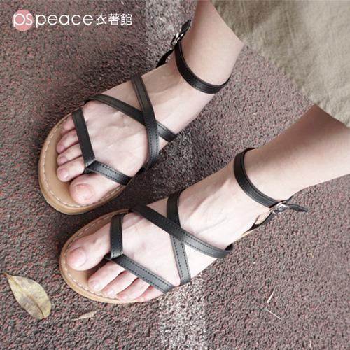 羅馬涼鞋-peace衣著館-MIT交叉夾腳羅馬涼鞋黑色
