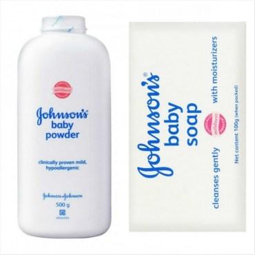 Johnsons嬌生嬰兒爽身粉500g*3嬰兒潤膚香皂*15