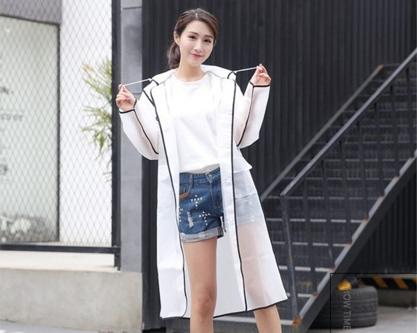 【現貨】韓版時尚透明磨砂含口袋長款雨衣 情侶款雨衣 雨披