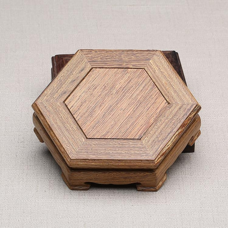 [超豐國際]雞翅木天然茶道配件茶具專用養壺墊茶托面 紫砂壺架 六方壺墊1入