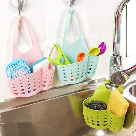 居家創意 加寬塑膠水槽瀝水收納籃 水龍頭 海綿 收納 浴室 置物
