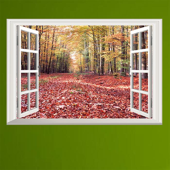 壁貼假窗紅樹林可重覆貼牆貼創意壁貼YV7592快樂生活網
