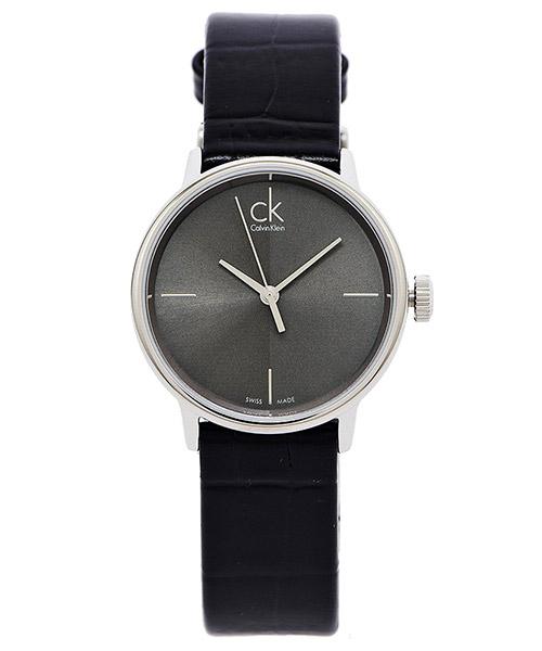 CK Calvin Klein Accent簡約款沉靜黑色皮帶女錶飾品K2Y2Y1C3灰黑面X黑色32mm