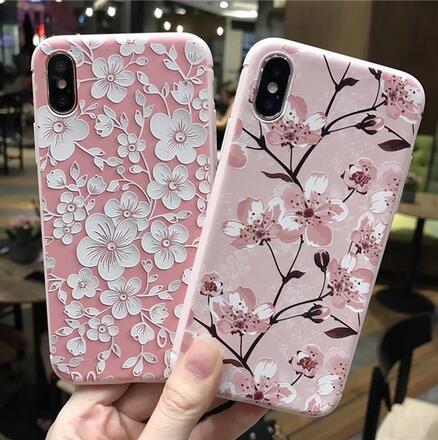 SZ35 iPhone X手機殼清新梅花浮雕粉色系iPhone7 8 plus手機殼iPhone6s手機殼