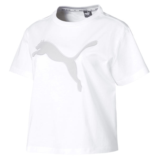 Puma 女 白 短袖 短版上衣 素色 上衣 運動風 運動 健身 休閒 短板 短T 84405602
