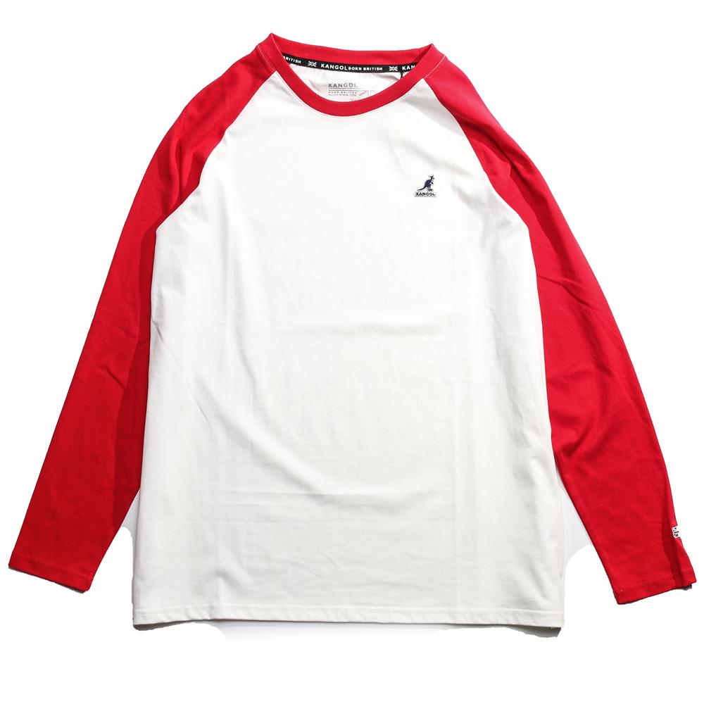 KANGOL 白紅 小LOGO 薄長袖 薄長T 拼接 男 (布魯克林) 6951100200