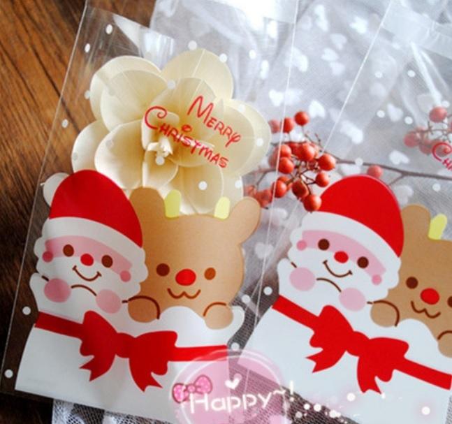 95入 聖誕長方形自黏袋 聖誕節【X041】 手機袋 自黏袋 OPP袋 包裝袋 餅乾袋 糖果袋
