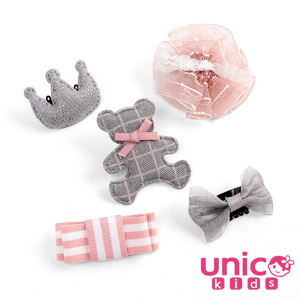 UNICO 少髮量寶寶四季百搭格子熊熊皇冠蝴蝶結髮夾-5入組