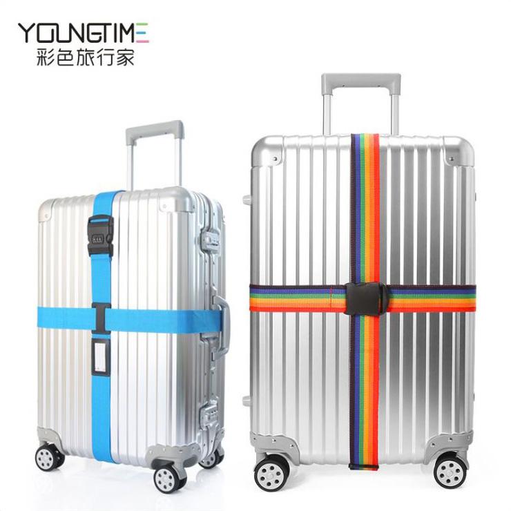 彩色旅行家行李箱用密碼鎖十字束帶旅行箱打包帶出國旅遊必備