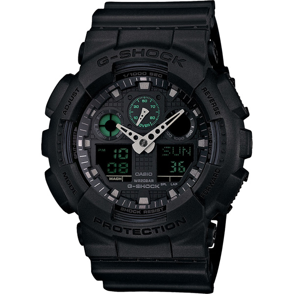 CASIO卡西歐G-SHOCK經典霸主雙顯錶-黑51mm GA-100MB-1ADR GA-100MB-1A