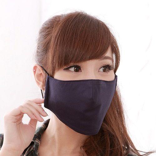 【防疫】【雨晴牌-超防鏡霧100%純綿專利口罩】(夾層型)◎成人-深藍色◎100%純綿 排霧透氣