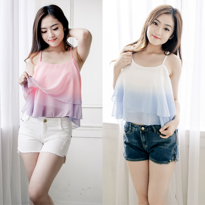 時尚雪紡漸層色細肩帶上衣淺藍粉紫兩色售MNNO16050605