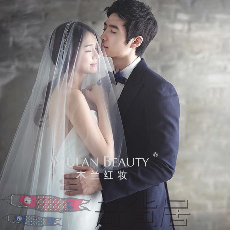 歐美簡約裸紗新娘韓式頭紗超長
