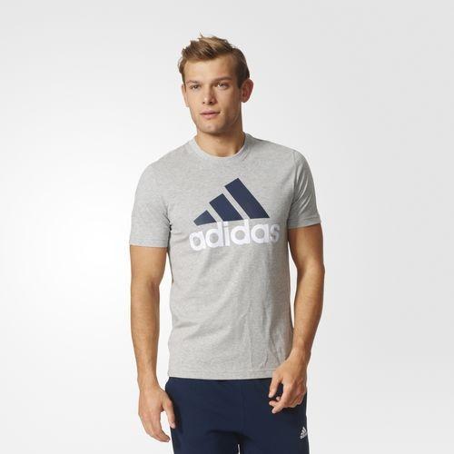 ADIDAS男裝短袖訓練慢跑棉質舒適灰白藍運動世界S98738