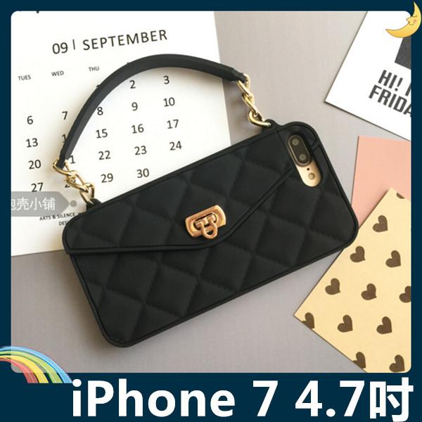 iPhone 7 4.7吋格紋包保護套軟殼時尚手提包插卡錢夾附側背長掛鍊矽膠套手機套手機殼