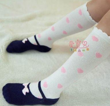 愛寶貝X1240019韓國最新款超Q蝴蝶結造型兒童小腿襪有防滑底膝上襪可挑款