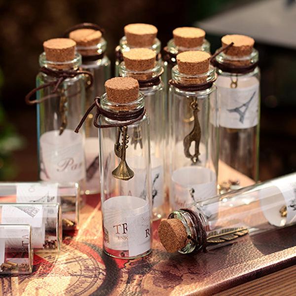 BlueCat復古世界風景軟木塞瓶內懸吊掛飾小亮粒皮繩幸運瓶玻璃瓶許願瓶漂流瓶