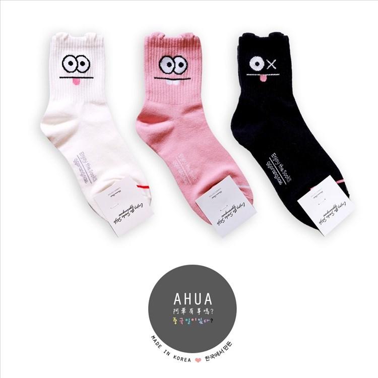 韓國品牌大眼怪兔子圖案中筒襪子️長襪短襪船襪韓國穿搭文青情侶韓國代購阿華有事嗎