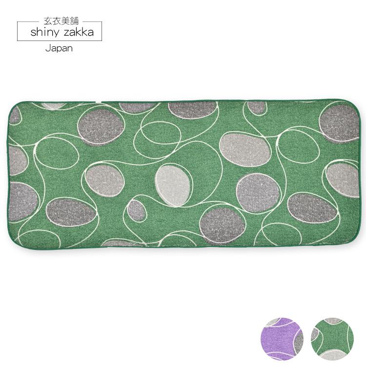 3M加長地墊(44*108)-超極細纖維吸水絨毛-止滑地墊-綠圓點-玄衣美舖