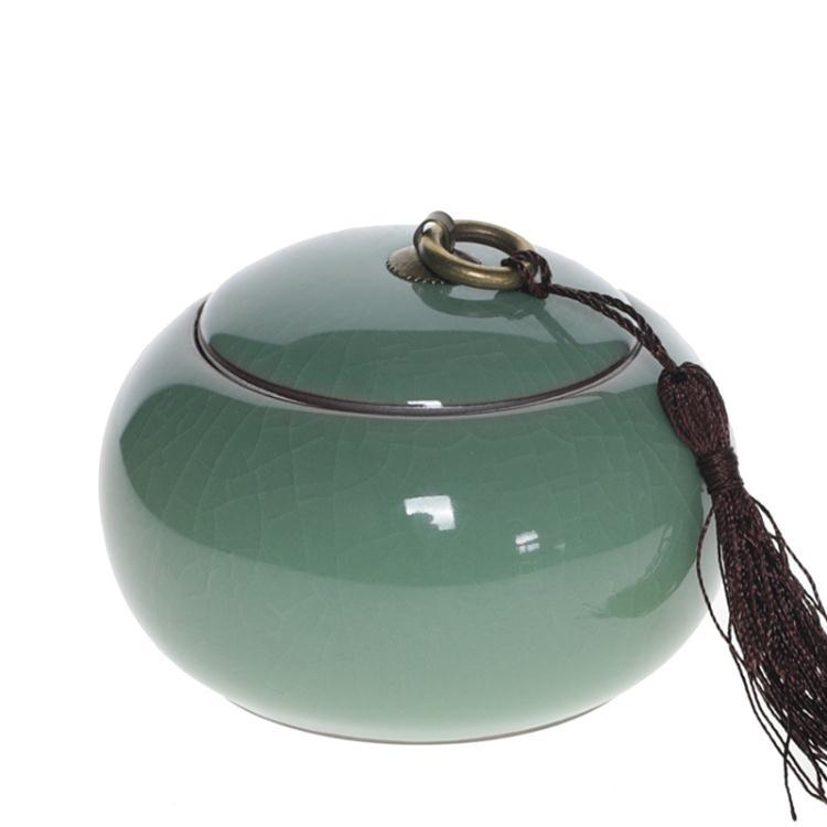 古韻青瓷茶葉罐紫砂汝窯普洱茶錫仿布密封茶葉罐