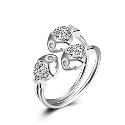 925純銀鑲鑽戒指-時尚精美三隻小魚生日情人節禮物女飾品73kz5時尚巴黎