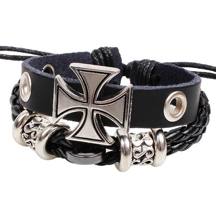 歐美 古羅馬 十字架 爆款 個性 男士 手鍊 合金 飾品 手工編織 手鍊小飾品