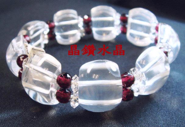 天然白水晶&紅石榴手鍊~乳白晶3A級~超優質附禮盒~送禮極品大*免運費