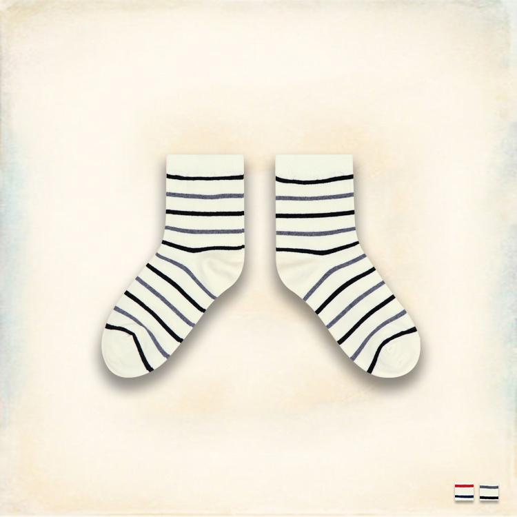 Melek 襪子類 (共2色)【P08161227-0135~36】女中筒襪細條款 韓國棉襪/舒適棉襪
