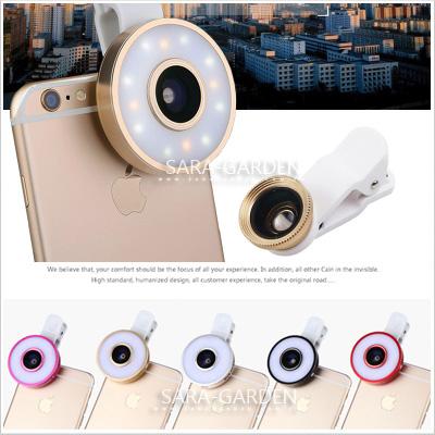 六合一美肌燈補光燈自拍廣角鏡頭微距魚眼鋁合金