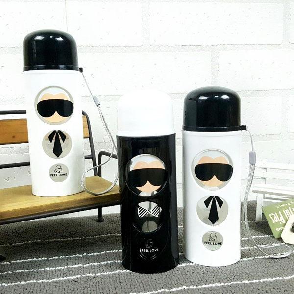 水杯KCG092黑白時尚圓圈老先生玻璃杯250ml水瓶瓶子咖啡杯隨行杯水壺-收納女王