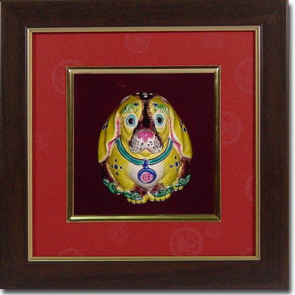 鹿港窯-居家開運商品-台灣國寶交趾陶裝飾壁飾-S正方立體框十二生肖-狗免運費送到家