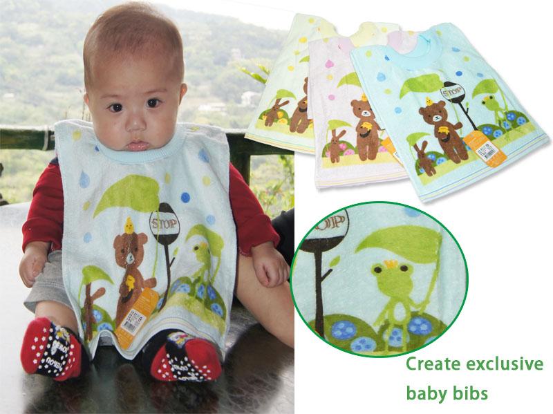 熊熊撐傘套頭圍兜~圍兜兜/兜巾/毛巾圍兜 卡洛兔 CALO RABBIT