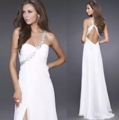 斜肩晚禮服時尚性感長裙新娘結婚婚禮敬酒白色禮服晚裝裙-rain006