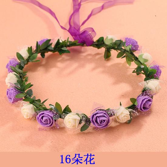 花環頭飾發飾頭環手環 森女海邊兒童 新娘花朵頭發箍 16朵花大鐵葉(十六花)花環─預購CH1732