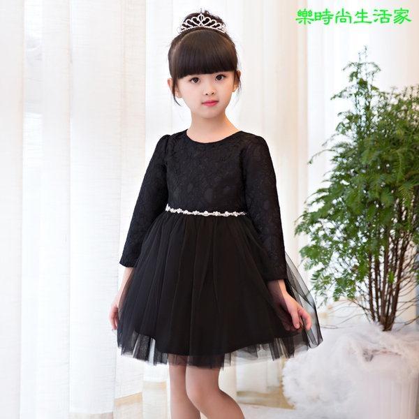 2017兒童禮服 生日舞會 黑色蕾絲長袖蓬蓬裙 演出表演禮服LC549