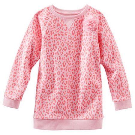 OshKosh長袖上衣 法式粉紅色豹紋厚棉長板T恤 5號 (Final sale)