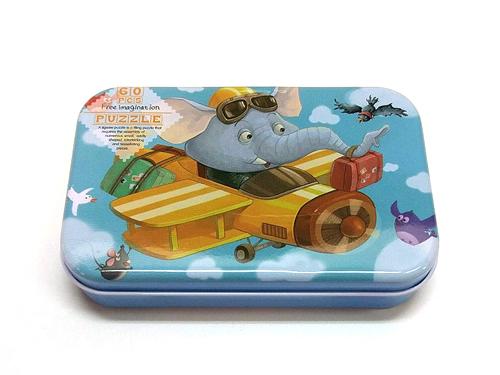 木質拼圖大象開飛機鐵盒裝60片