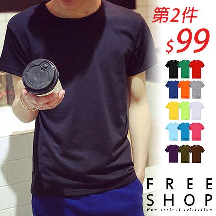 短T Free Shop QFSZL0001多色款純色百搭素T圓領棉質短T短袖上衣潮T恤情侶款有大尺碼XL~3XL
