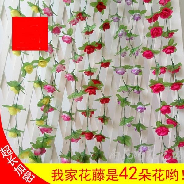 仿真小玫瑰藤條 裝飾藤蔓藤椅纏繞空調管道遮擋陽台吊頂裝飾花串─預購CH3076